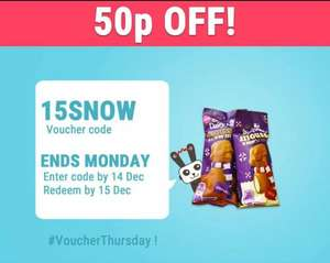 FREEBIE... Enter 15SNOW for 50p off Cadbury Mousse Snowman - 50p @ Asda & Tesco = FREE via Shopitize App...