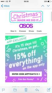 ASOS 15% off everything on the app
