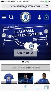 25% off everything Chelsea megastore