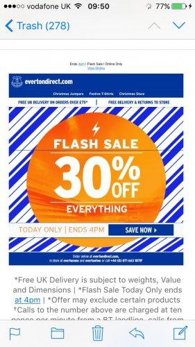 Flash sale 30% off Everton megastore online till 4pm