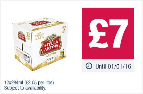 Stella Artois Bottles 12 x 284ml, £7. Strongbow Original Cider 10 x 440ml £7. Bulmers Original Bottles 8 x 568ml. Carling Cans 10 x 440ml. Budweiser Bottles 12 x 300ml £7. Kronenbourg 1664 Bottles 20 x 275ml £10. Tennents Cans 18 x 440ml £12at Co-op