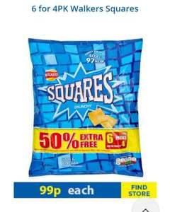 walkers squares chrisps 99p at family bargins