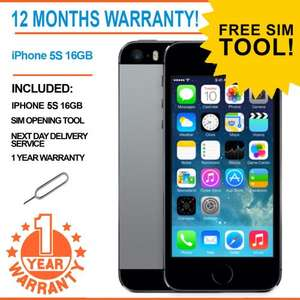 Refurbished iPhone 5S 16b + 1 year warranty @ £187.99  delivered from eBay / universalgadgets01