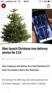 5ft christmas tree delivered to your door for £10 by uber in Manchester