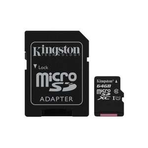 Kingston 64GB microSDXC Class 10 UHS-I 45MB/s Read Card with Adapter  £11.38  cclcomputers on ebay