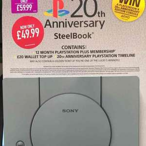 12 Month PS Plus & £20 PSN Credit 20th Anniversary SteelBook at GAME £49.99 instore