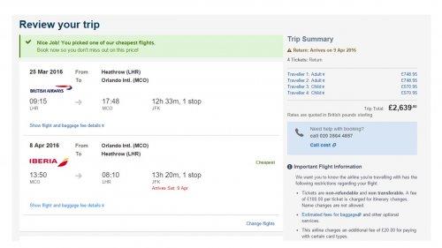 LHR - Orlando Flights (via JFK) 14 nights flying on Good Friday 2adults & 2 children - avg £660