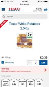 Tesco 39p Veg each From Monday, inc 2.5kg bag of white potatoes