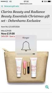 Clarins Beauty and Radiance Beauty Essentials Christmas gift set @ Debenhams for £19.00