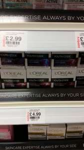Loreal Youth Code Day or Night cream 50ml in-store @ Savers