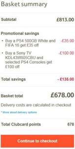 PS4 500GB 43W805CBU Sony TV Fifa 16 Tesco Direct £678 Also 678 points and 1.57% TCB