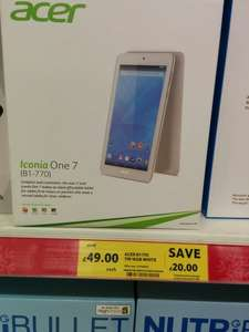 Acer Iconia One, 7 inch, white tablet (B1-770) £49 in store and online @ Tesco