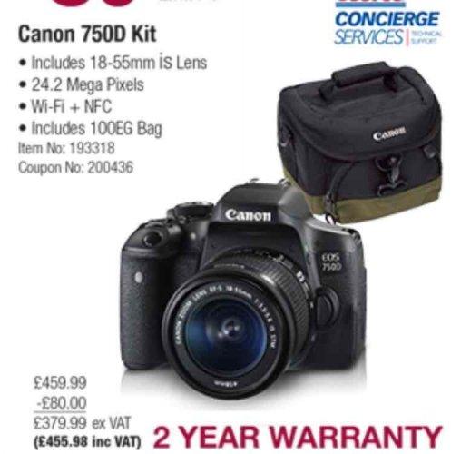 Canon 750D SLR camera £80 off - £455.98 at Costco