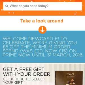 Amazon Prime Now minimum spend down to £15 until March 2016