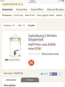 Sainburys glass drinks dispenser with Tap £7.50 (was £15) online and instore