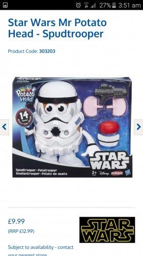 Star wars mr potato head spud trooper £9.99 at Home Bargains