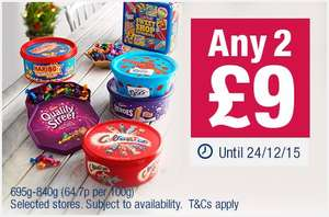 2 tubs Celebrations/Heroes/Quality Street etc £9 at Co-op food