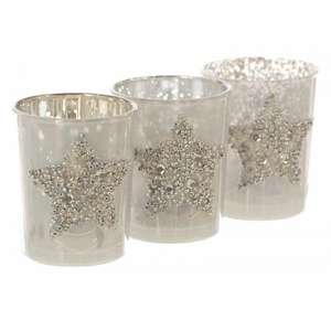 Festive Christmas Star Candle Holders - Set of 3. RRP £9.99 now £2.49 Greenfingers.com