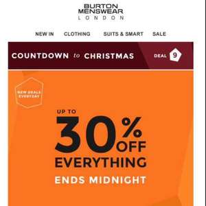Burton up to 30% off everything ! Online Exclusive ! Countdown to Christmas Offer!
