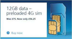 O2 12GB Preloaded 4G Data Sim for 12 months @ O2. Possible £12.50 Quidco.