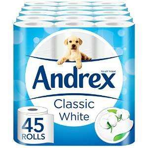 Andrex White Toilet Tissue - 45 Rolls (5 x pack of 9 rolls) £15.40 @ Amazon