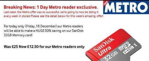 one day deal at vodafone! half price 32gb micro SD card instore @ vodafone via Metro