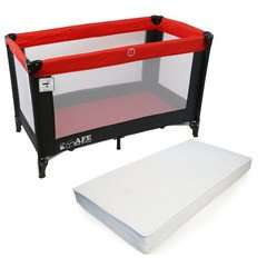iSafe Rest & Play Luxury Travel Cot/Playpen - Warm Red (Black/Red) 120 cm x 60 cm Complete With Mattress £42.95 from baby-travel.uk.com