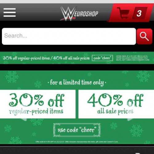 WWE euroshop 30% off regular or 40% off sale