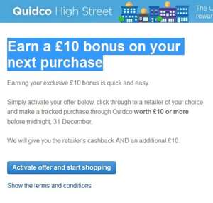 £10 bonus + Cashback on next £10+ purchase through Quidco
