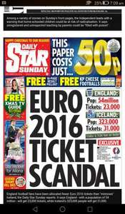Daily star Sunday 50p - voucher for free kp cheese footballs from londis