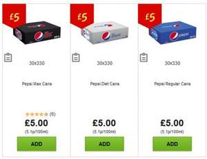 30x330 cans of Pepsi / Diet Pepsi / Pepsi max £5 Asda Online and Instore