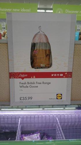 Fresh British free range goose, 4.5kg £35.99 at Lidl