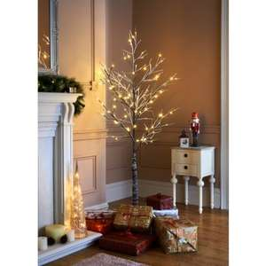 Snowy Twig Tree 6ft with 120 LED lights £19.99 @ B&M