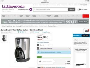 Swan Filter Coffee Maker - Stainless Steel - £29 @ Littlewoods