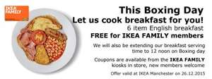 Free 6 item Breakfast at Ikea this Boxing day