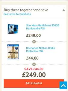 Star Wars Battlefront 500GB PS4 bundle and Uncharted Nathan Drake collection £249.00 online at Tesco Direct