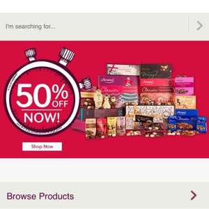 Thorntons upto 50% off sale now on