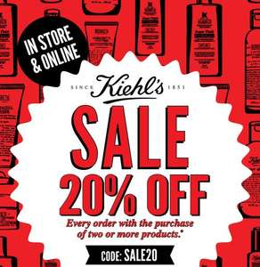 20% @ Kiehl's in store and online today only when you buy two or more products