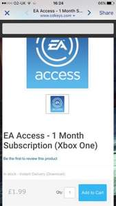 Boxing Day Deal - EA Access 1 month subscription £1.99 @ Cdkeys