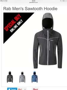 Rab sawtooth softshell hoodie various colours men's womens now £60 @ go outdoors (4 colours men, 2 women rrp£120 plus 1/2 Price rab tees, fleeces, jackets