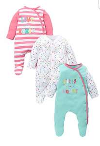 mothercare mummy & daddy 3 pack sleepsuits on sale