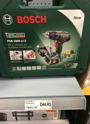 Bosch PSB LI -2 1800 Cordless Hammer Drill Driver - 18V & spare battery £44.93 @ Homebase