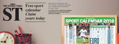 free sunday times sport calendar 2016