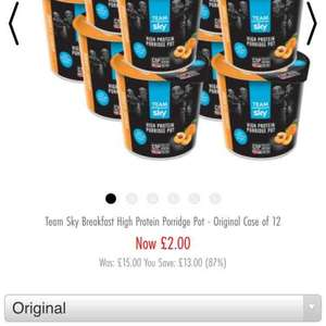 team sky porridge pots x12 for  £2 rep £15 (original flavour only) @ CNP