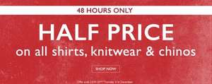 50% Off ALL Shirts, Knitwear & Chinos @ Moss Bros + Another £20 Off £100 spend off Everything + Free Click & Collect
