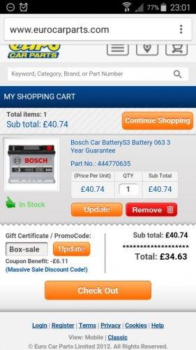 Bosch car batteries  £10 off plus 15% off. £34.00 @ EuroCarParts