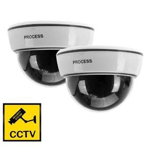 2x Fake Dummy CCTV Dome Security Camera Flashing LED Indoor Outdoor Warning Sign for £8.99 Free Delivery @ Amazon / Camera King