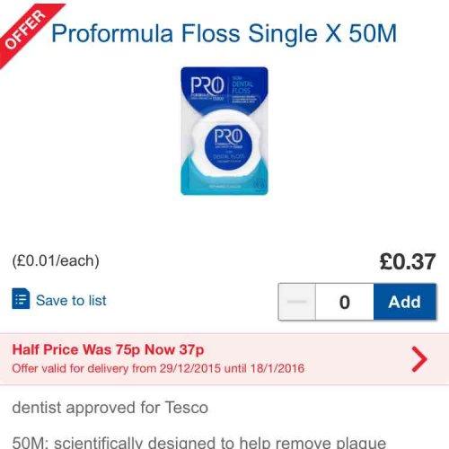 dental floss 37p tesco online