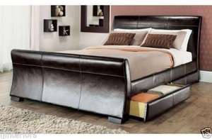 4 DRAWERS FAUX LEATHER STORAGE SLEIGH BED DOUBLE £138.50 OR KING SIZE BEDS £149.50 + MEMORY MATTRESS @ Ebay / ijinteriors