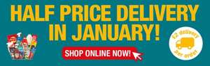 Half Price Delivery Throughout January @ Poundland Online (You Can Also Buy In Bulk), £2 P&P